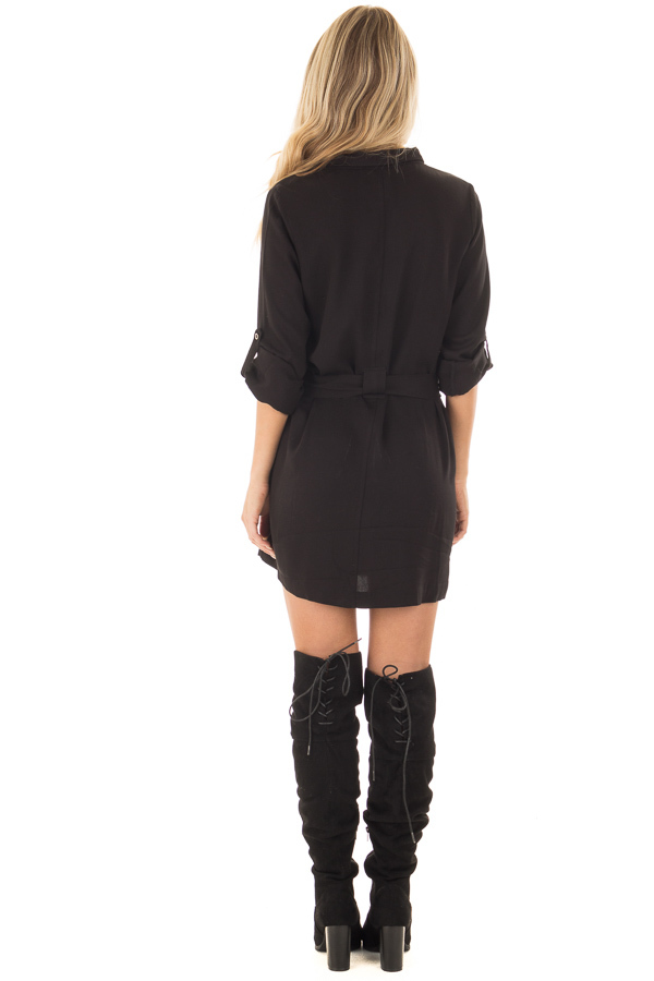 Black Button Up Long Sleeve Dress with Waist Tie and Pockets back full body