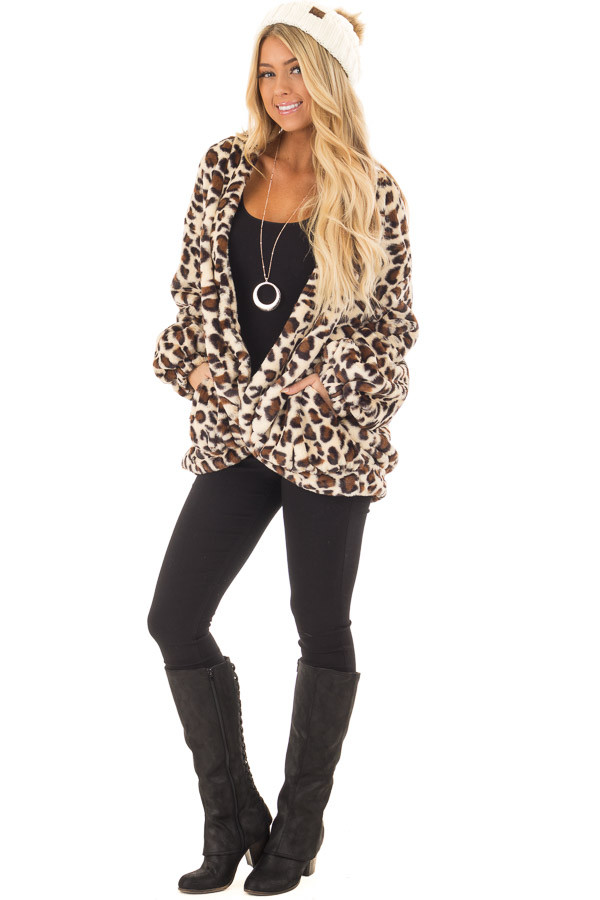 Beige Leopard Print Faux Fur Jacket with Pockets front full body