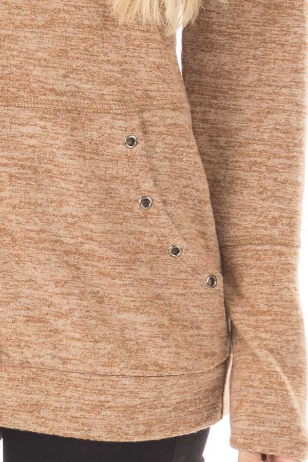 Camel Long Sleeve High Neck Sweater with Kangaroo Pocket front detail
