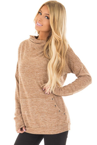 Camel Long Sleeve High Neck Sweater with Kangaroo Pocket front closeup