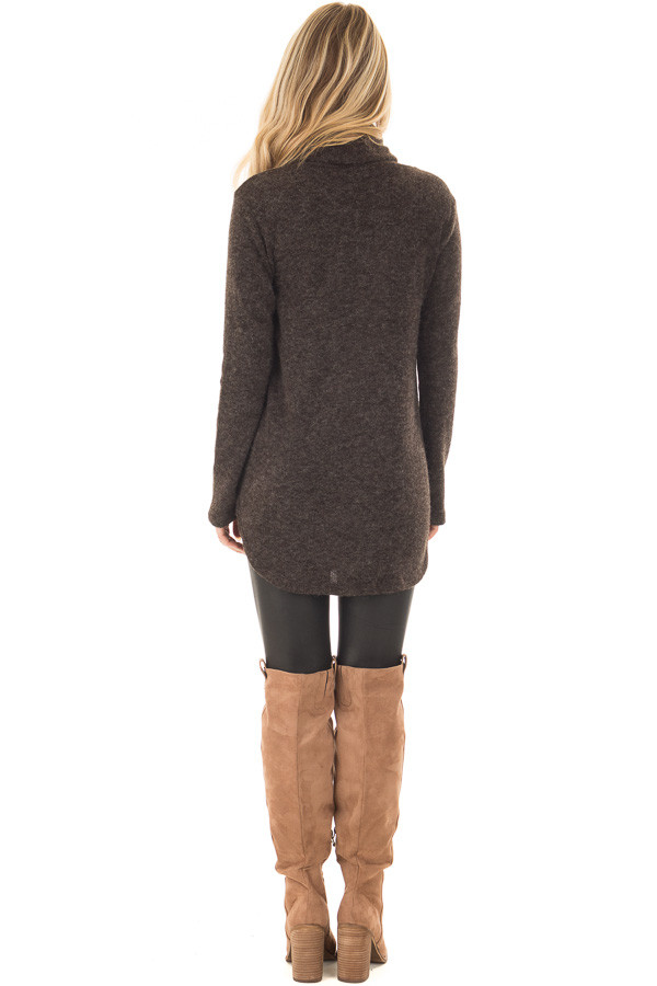 Black Cowl Neck Sweater with Faux Suede Details back full body