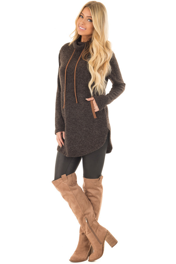 Black Cowl Neck Sweater with Faux Suede Details front full body