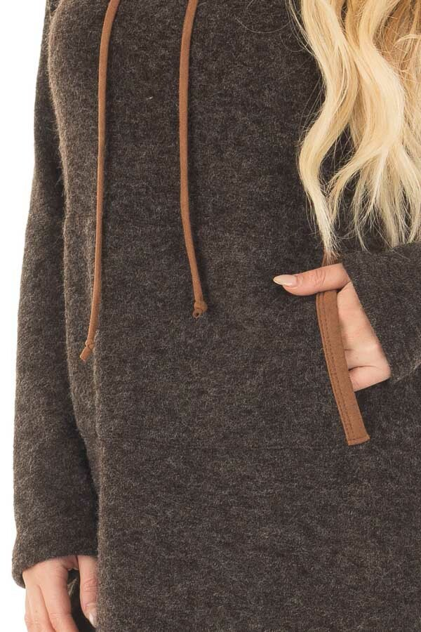Black Cowl Neck Sweater with Faux Suede Details detail