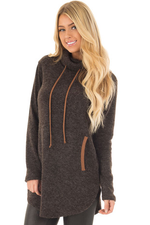 Black Cowl Neck Sweater with Faux Suede Details front close up