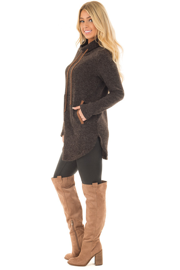 Black Cowl Neck Sweater with Faux Suede Details side full body