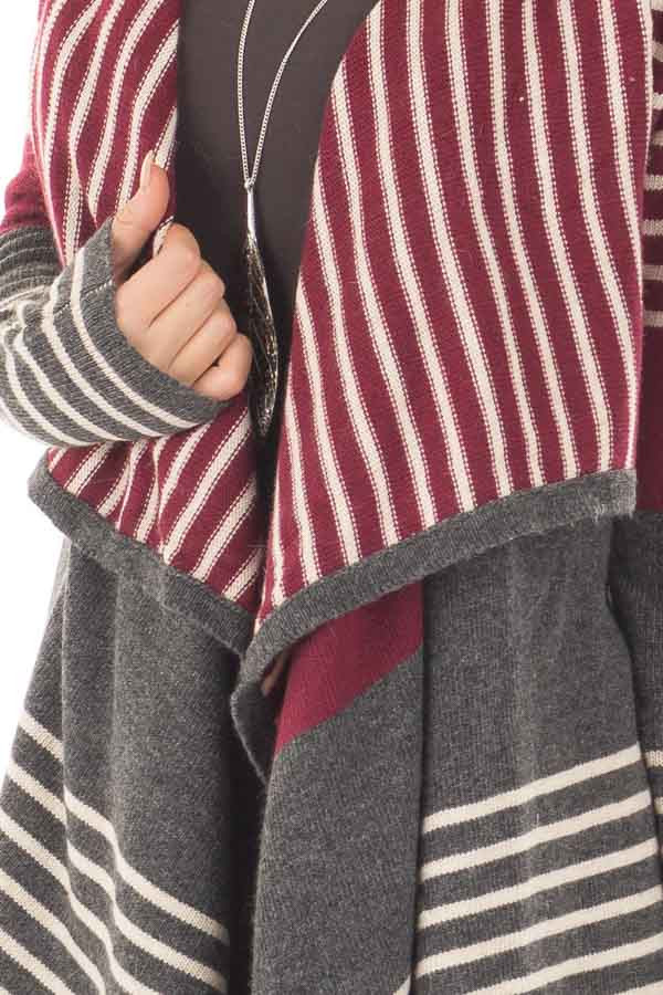 Burgundy and Charcoal Striped Open Drape Cardigan front detail
