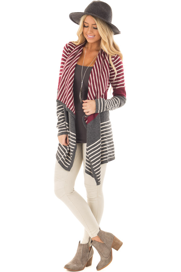 Burgundy and Charcoal Striped Open Drape Cardigan front full body
