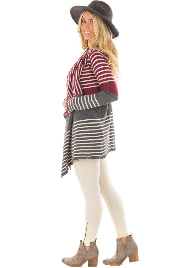 Burgundy and Charcoal Striped Open Drape Cardigan side full body