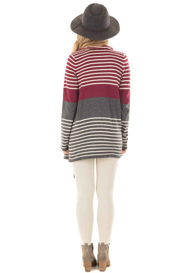 Burgundy and Charcoal Striped Open Drape Cardigan back full body