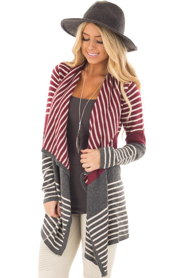 Burgundy and Charcoal Striped Open Drape Cardigan front closeup