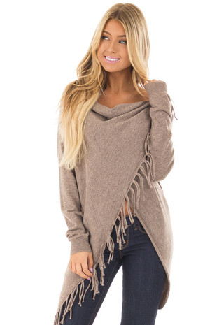 Mocha Long Sleeve Sweater Wrap Cardigan with Fringe front closeup