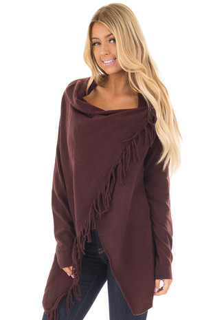 Plum Long Sleeve Sweater Wrap Cardigan with Fringe front closeup