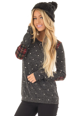 Charcoal Long Sleeve Top with Plaid Details front closeup