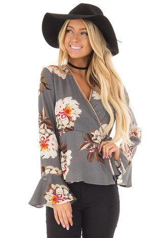 Steel Grey Floral Blouse with Waist Tie front closeup