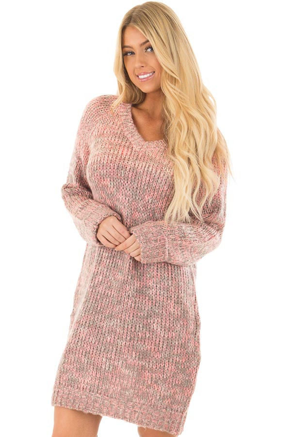 Charcoal and Blush Two Tone Sweater Dress front closeup