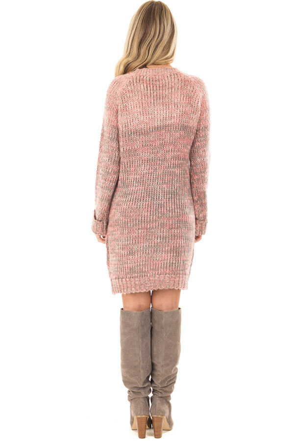 Charcoal and Blush Two Tone Sweater Dress back full body