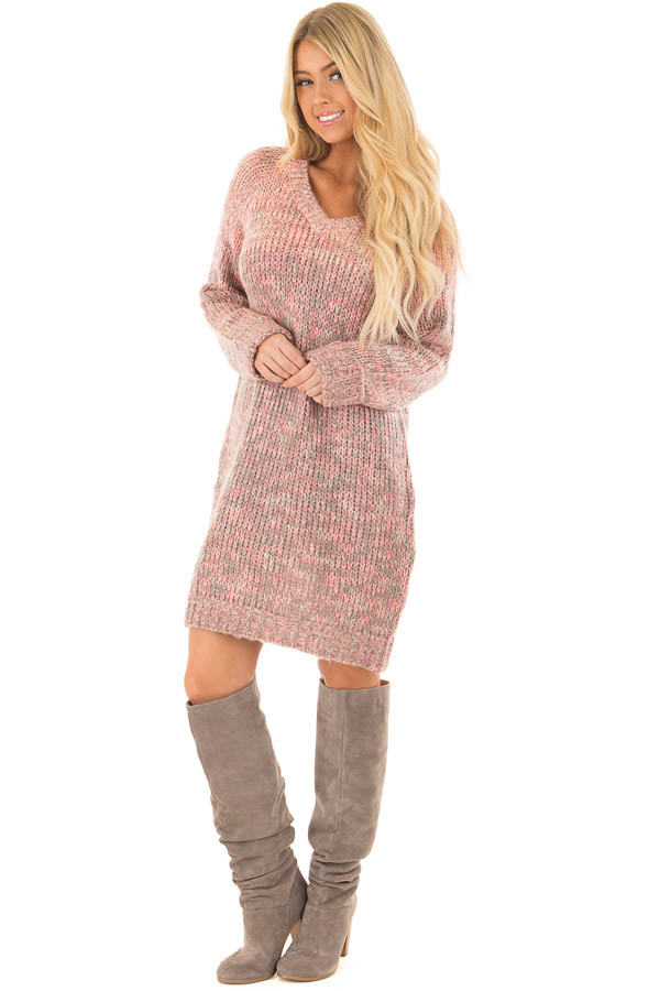 Charcoal and Blush Two Tone Sweater Dress front full body