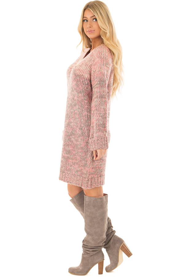 Charcoal and Blush Two Tone Sweater Dress side full body
