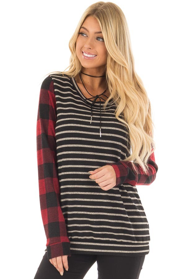 Black and Red Striped and Plaid Long Sleeve Top front closeup