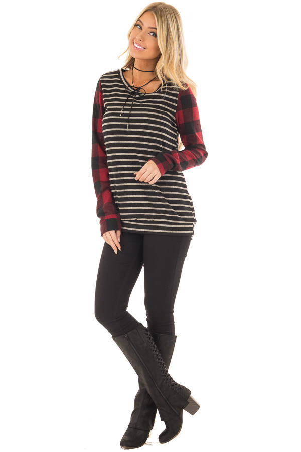 Black and Red Striped and Plaid Long Sleeve Top front full body