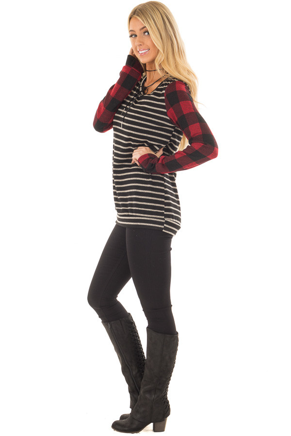 Black and Red Striped and Plaid Long Sleeve Top side full body