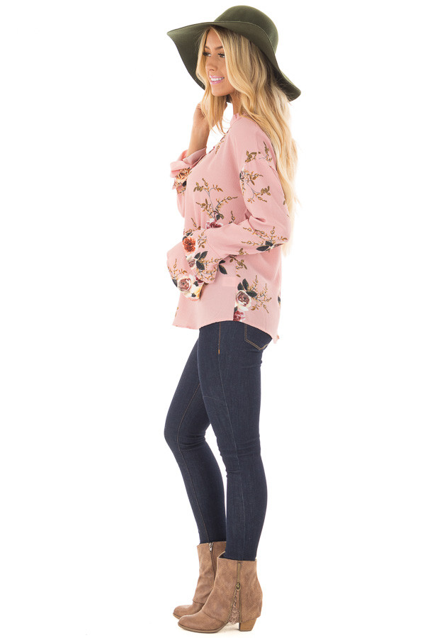 Blush Floral Trumpet Sleeve Blouse with Keyhole Cut Out side full body