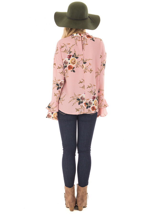 Blush Floral Trumpet Sleeve Blouse with Keyhole Cut Out back full body