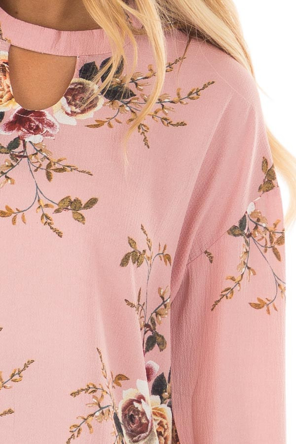 Blush Floral Trumpet Sleeve Blouse with Keyhole Cut Out front detail