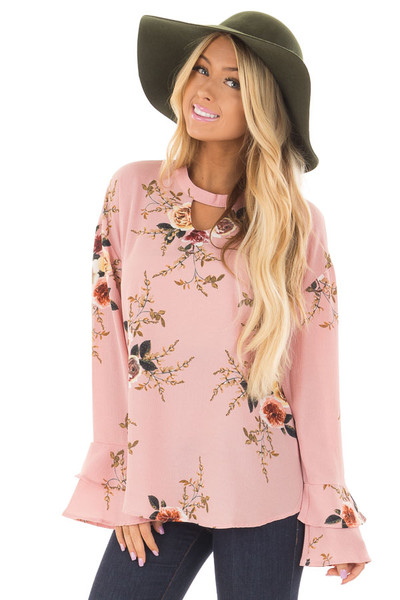 Blush Floral Trumpet Sleeve Blouse with Keyhole Cut Out front closeup