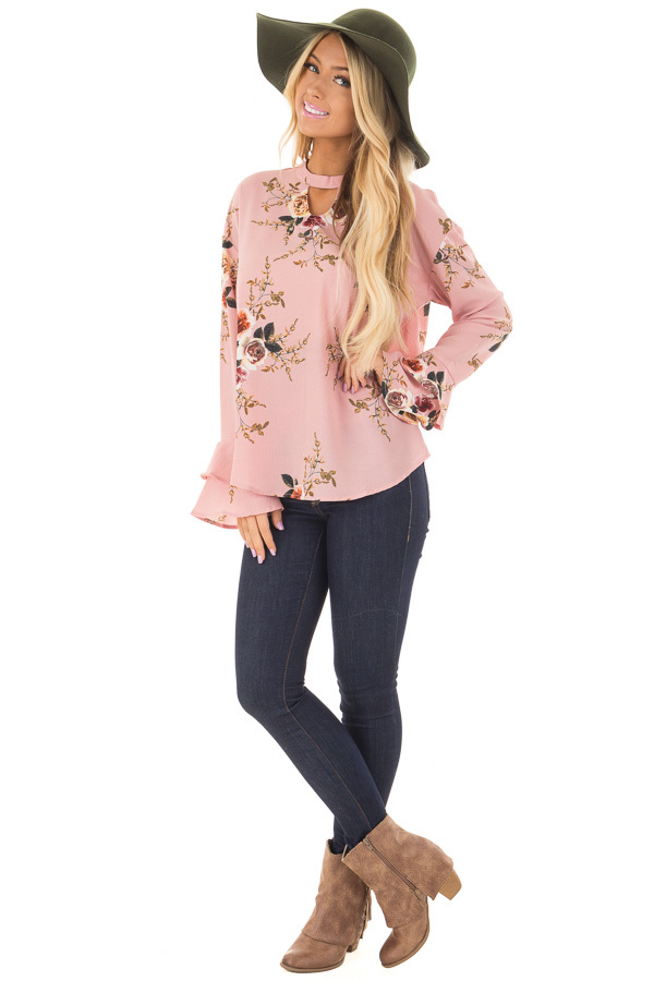 Blush Floral Trumpet Sleeve Blouse with Keyhole Cut Out front full body