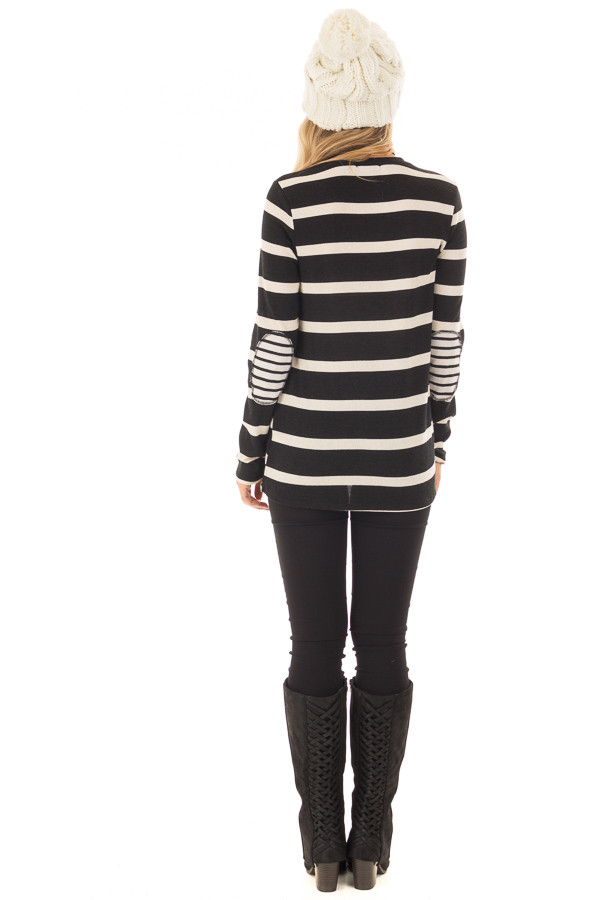 Black Striped Long Sleeve Top with Elbow Patches back full body