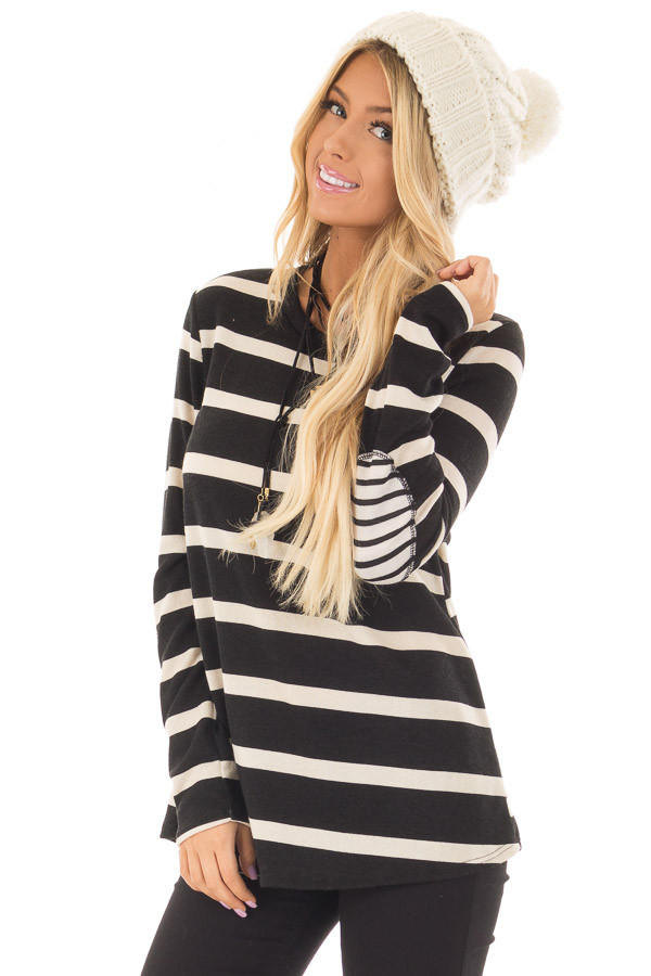 Black Striped Long Sleeve Top with Elbow Patches front closeup
