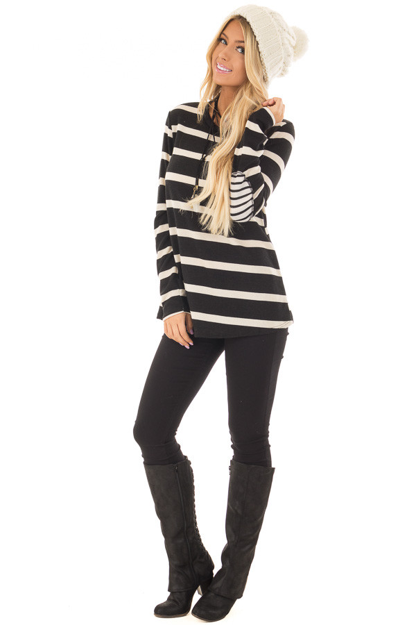 Black Striped Long Sleeve Top with Elbow Patches front full body