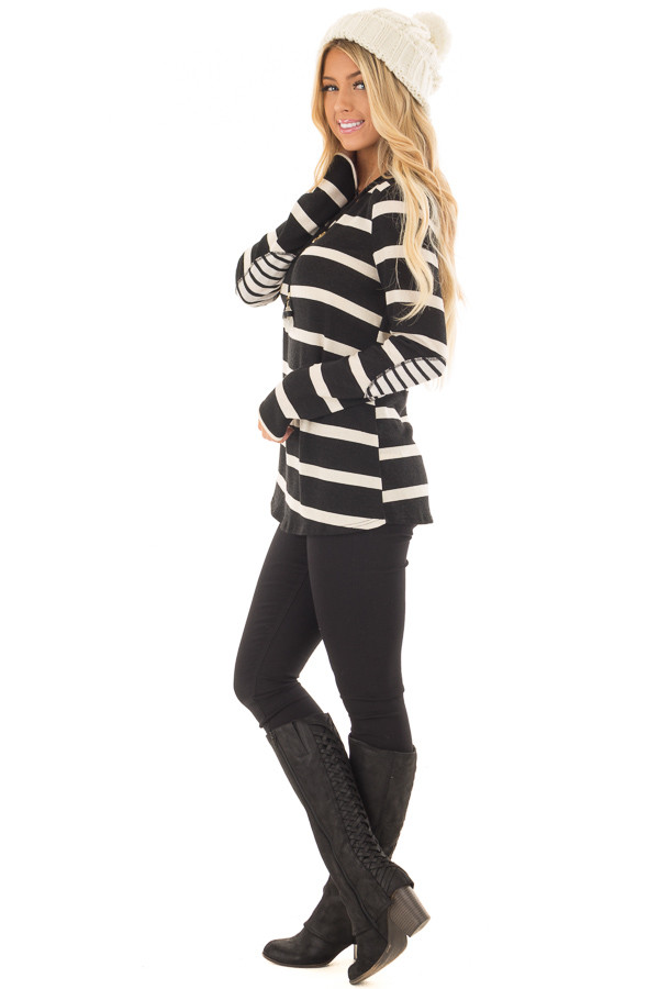 Black Striped Long Sleeve Top with Elbow Patches side full body