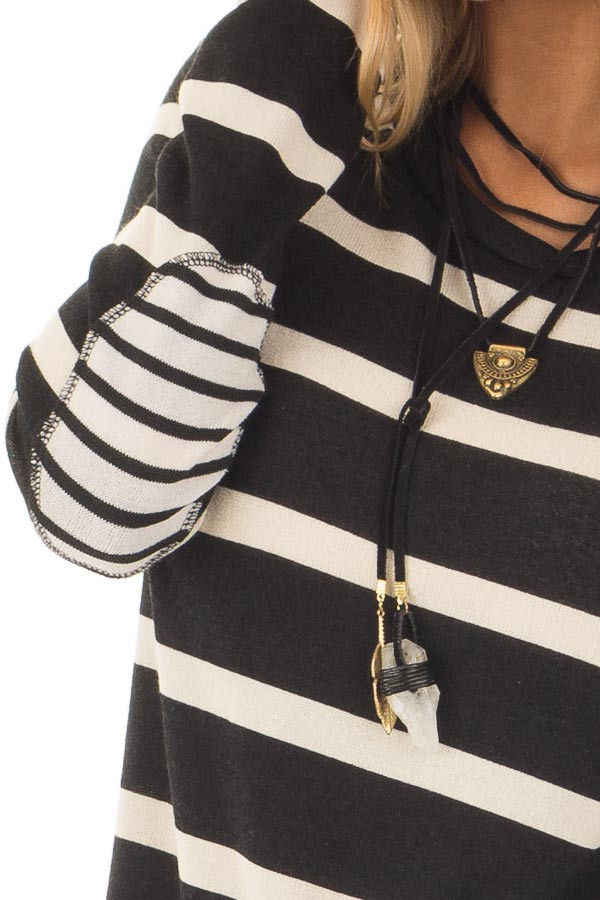 Black Striped Long Sleeve Top with Elbow Patches front detail