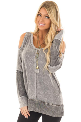 Charcoal Mineral Wash Cold Shoulder Top with Stitch Detail front closeup