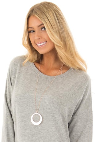 Rose Gold Detailed Chain Necklace with Rounded Pendant