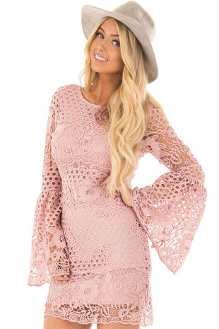 Dusty Pink Long Bell Sleeve Sheer Crochet Dress front closeup