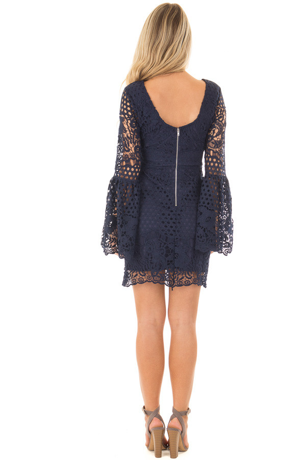 Navy Long Bell Sleeve Sheer Crochet Dress back full body