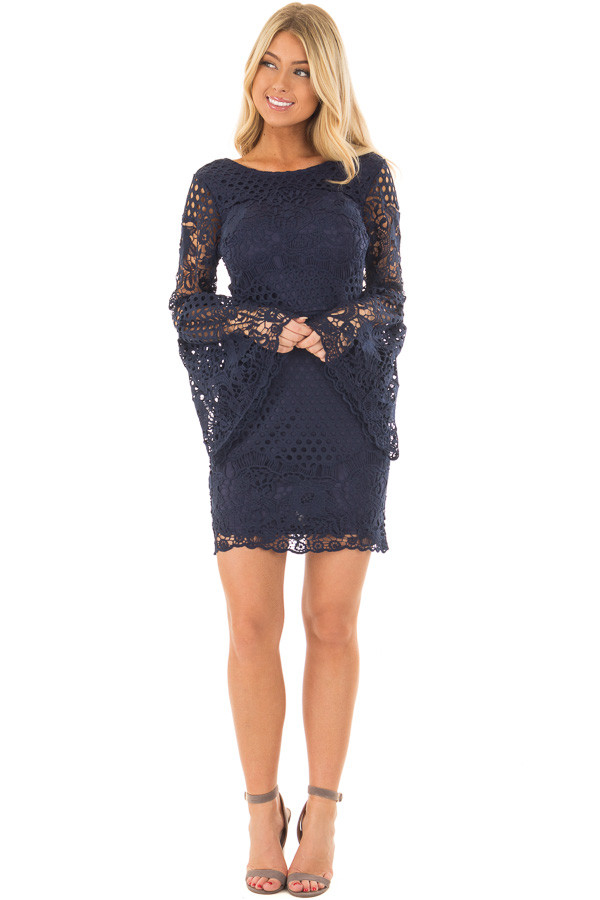 Navy Long Bell Sleeve Sheer Crochet Dress front full body