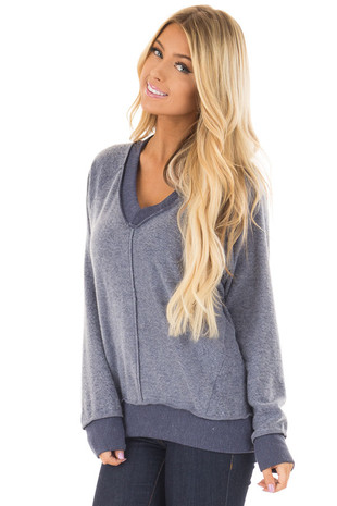 Navy Soft Open Back Sweater with Double Strap Detail front closeup