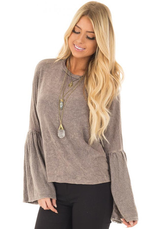 Mocha Mineral Wash Bell Sleeve Sweater front closeup