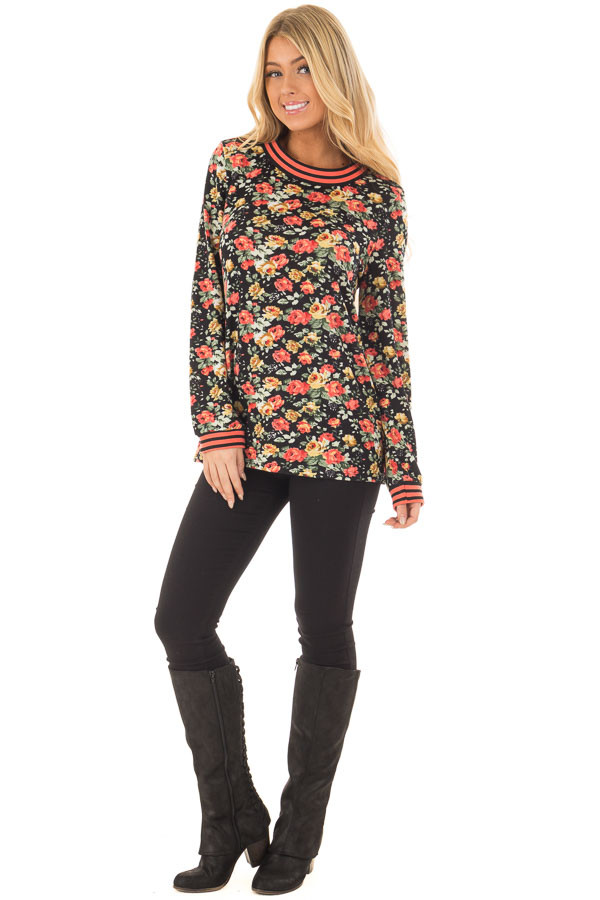 Black Floral Print Top with Coral Stripe Detail front full body