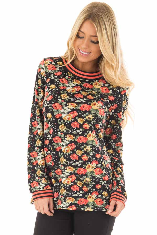 Black Floral Print Top with Coral Stripe Detail front closeup