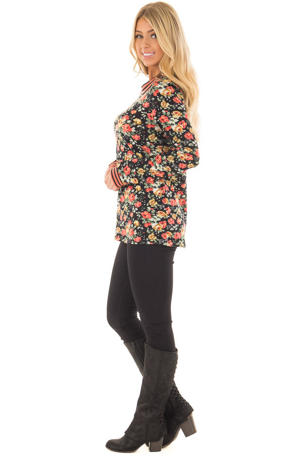 Black Floral Print Top with Coral Stripe Detail side full body