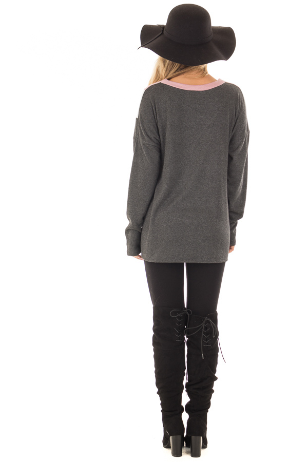 Charcoal Soft Sweater with Chevron Color Block back full body