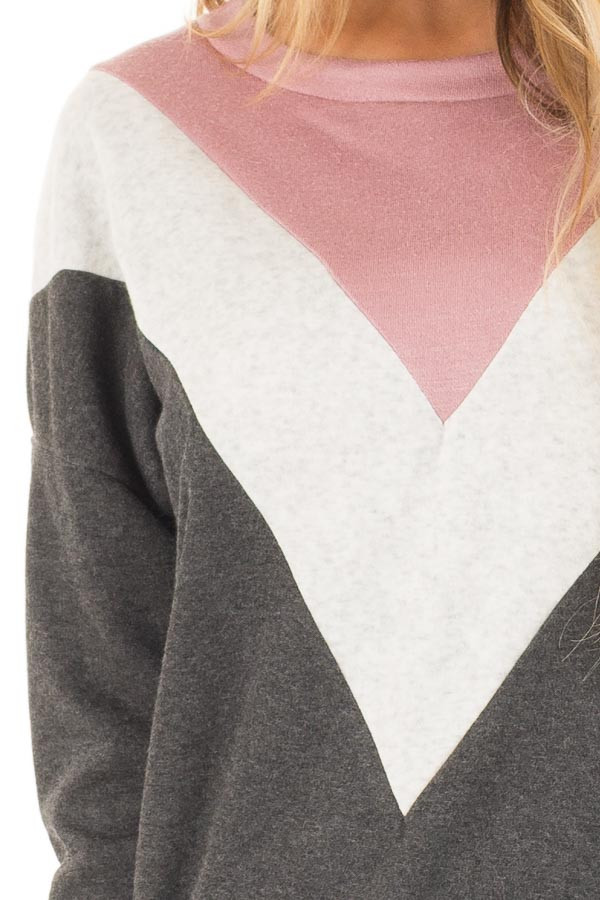 Charcoal Soft Sweater with Chevron Color Block front detail