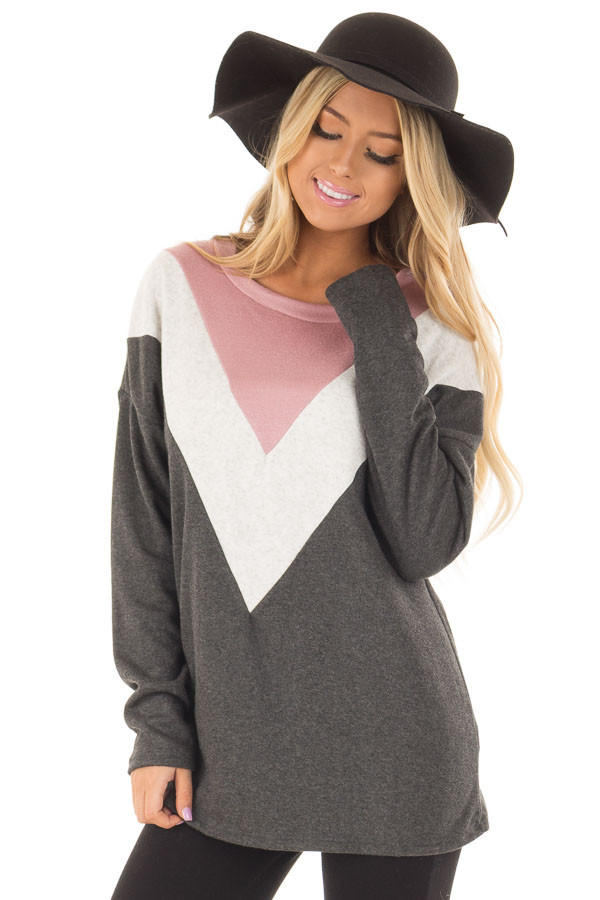 Charcoal Soft Sweater with Chevron Color Block front closeup