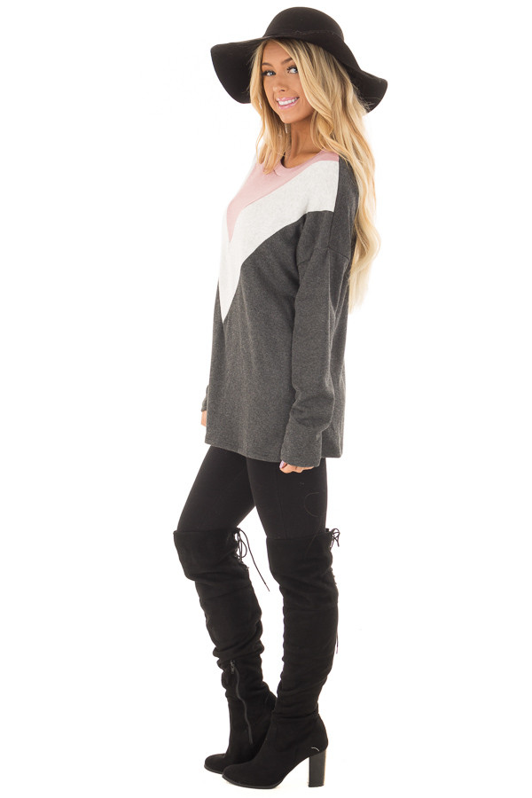 Charcoal Soft Sweater with Chevron Color Block side full body