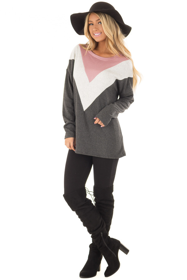 Charcoal Soft Sweater with Chevron Color Block front full body